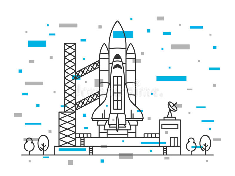 Spaceship on space vehicle launching site stock illustration