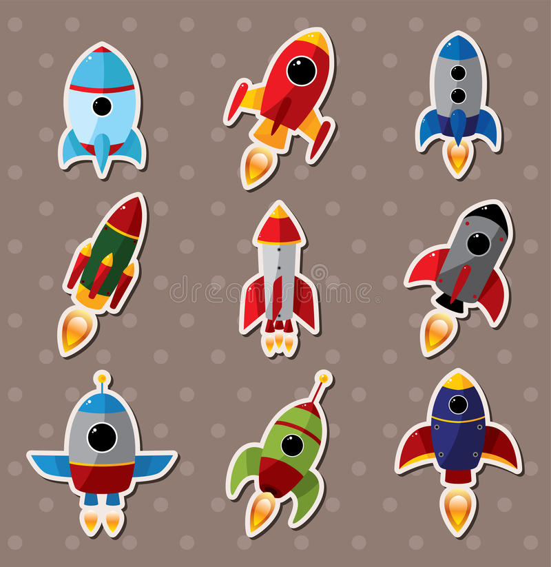Spaceship stickers royalty free illustration