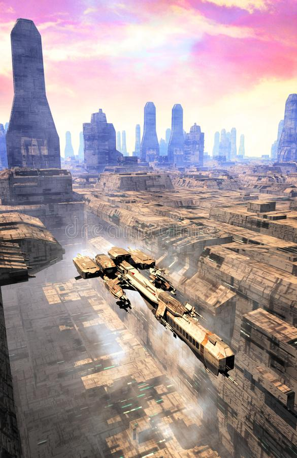 Spaceship takeoff and city. 3D render science fiction illustration royalty free illustration