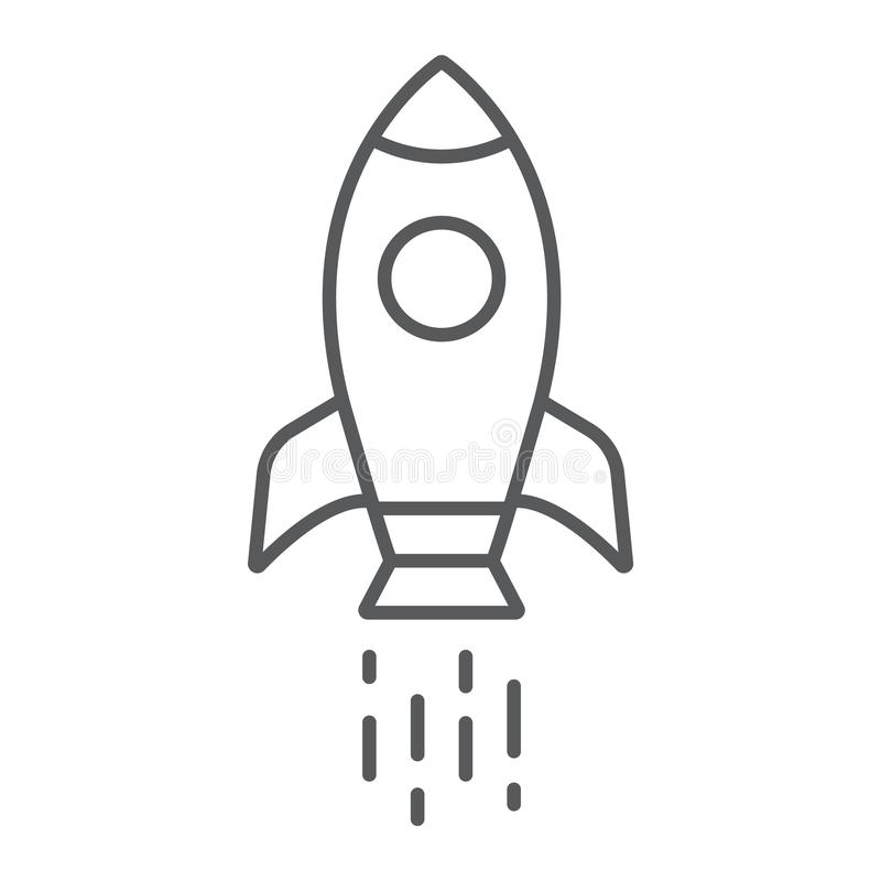 Spaceship thin line icon, shuttle and cosmos, rocket sign, vector graphics, a linear pattern on a white background. Spaceship thin line icon, shuttle and cosmos royalty free illustration