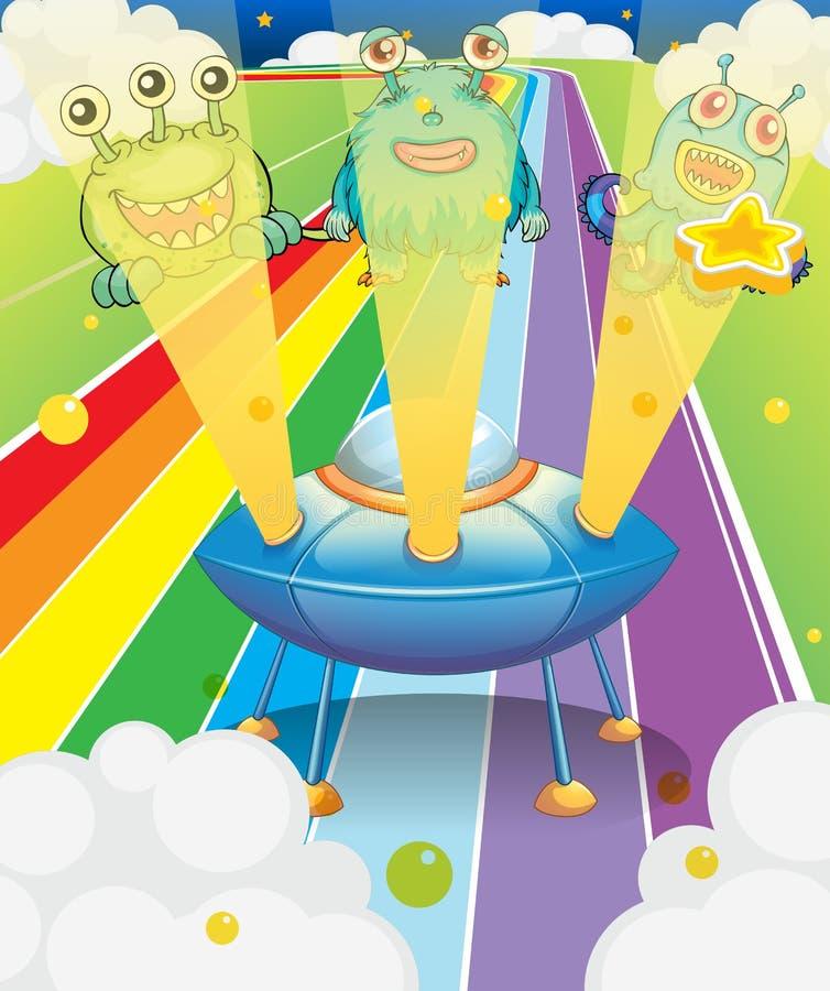 Download A Spaceship With Three Aliens Stock Vector - Illustration of indigo, illustration: 31791988