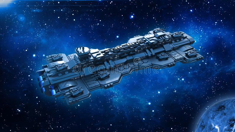 Spaceship traveling in deep space, alien UFO spacecraft flying in the Universe with planet and stars, top view, 3D render vector illustration