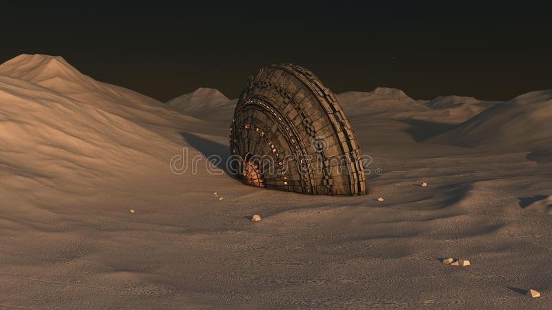 Spaceship UFO crash. Spaceship UFO and alien planet royalty free stock image