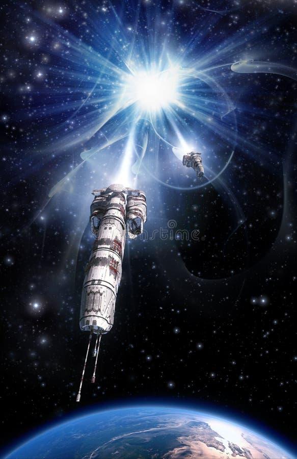 Spaceship and warp drive royalty free illustration