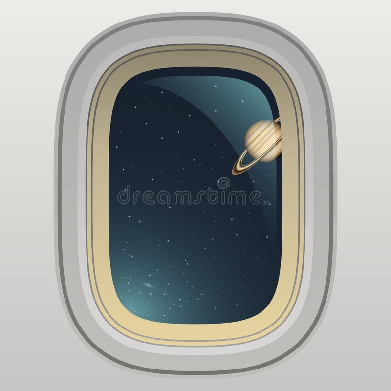 Spaceship window, view of planet and space stock illustration