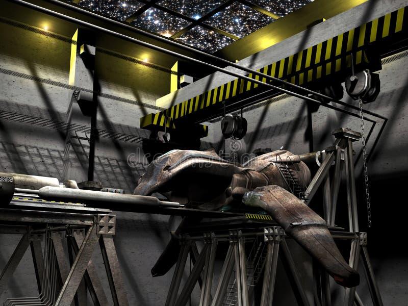 Download Spaceship at workshop stock illustration. Image of escape - 15264488