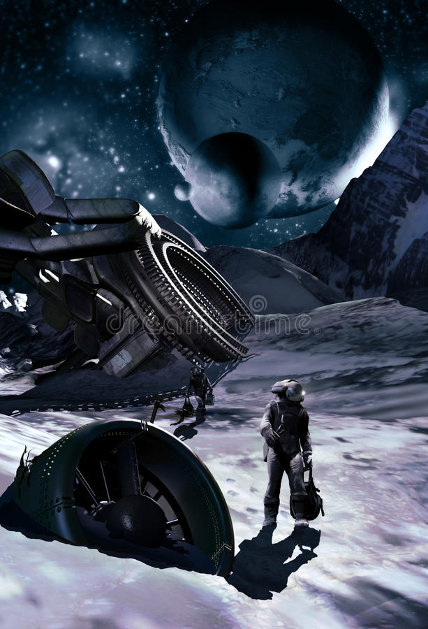 Free Spaceship Wreck On Ice Planet Royalty Free Stock Images - 69825249