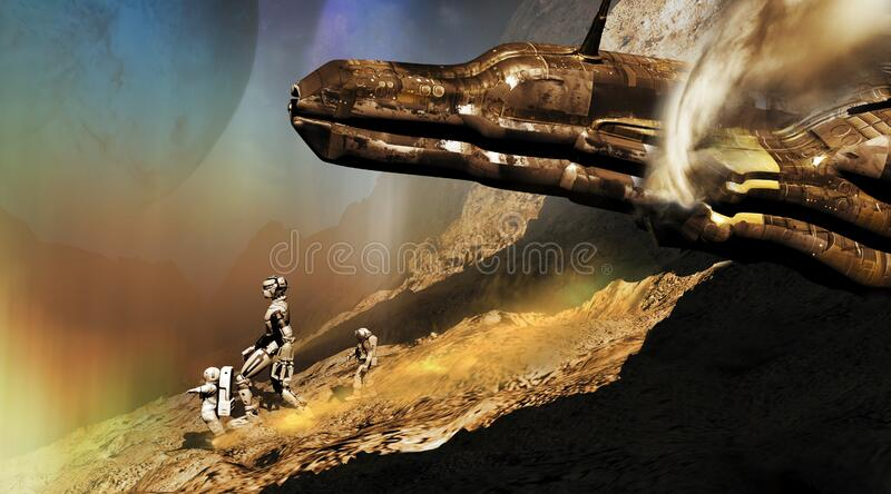Spaceship wreck. A spaceship failed  on rocky alien planet or satellite.  Two astronauts and an android begin their walk in search of salvation vector illustration