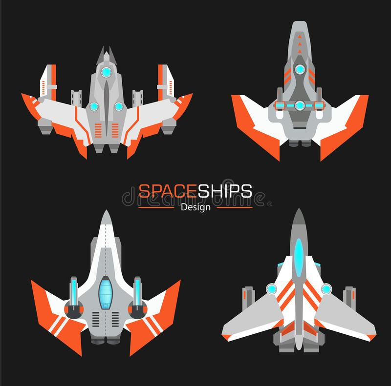 Spaceships aircraft design. Vector set in flat style royalty free illustration