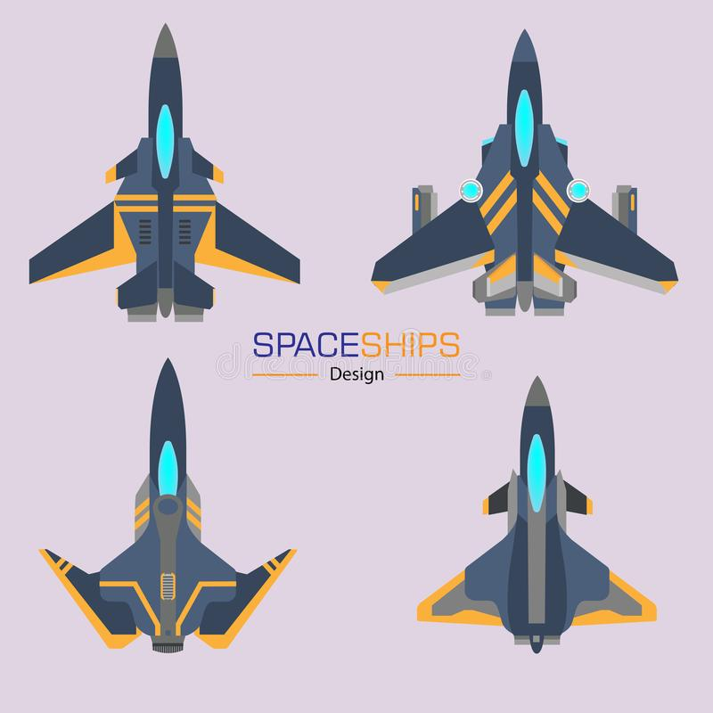 Spaceships aircraft design. Vector set in flat style vector illustration