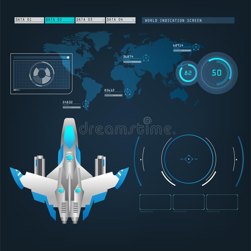 Spaceships aircraft with future sight action mode interface. UI design graphic illustration set vector illustration