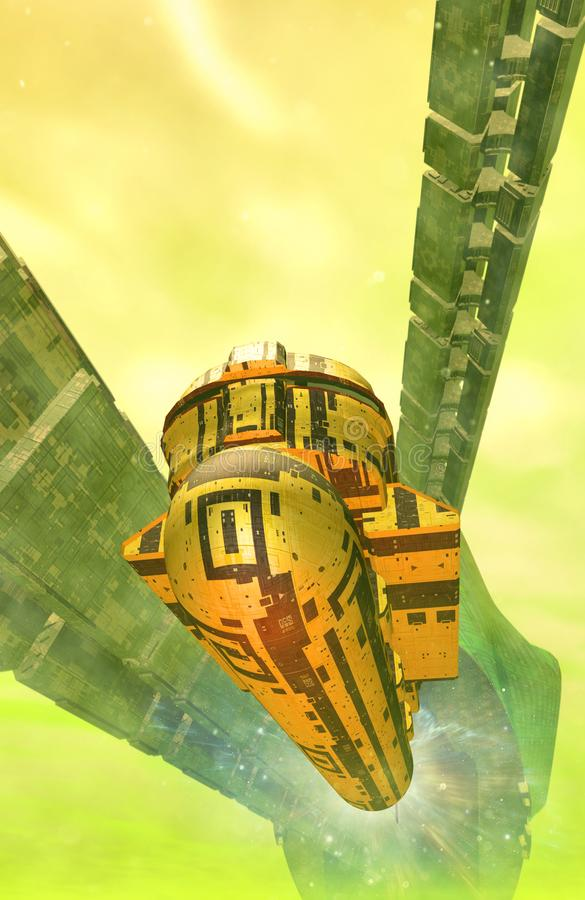 Spaceships and alien space station. 3D render science fiction illustration royalty free illustration
