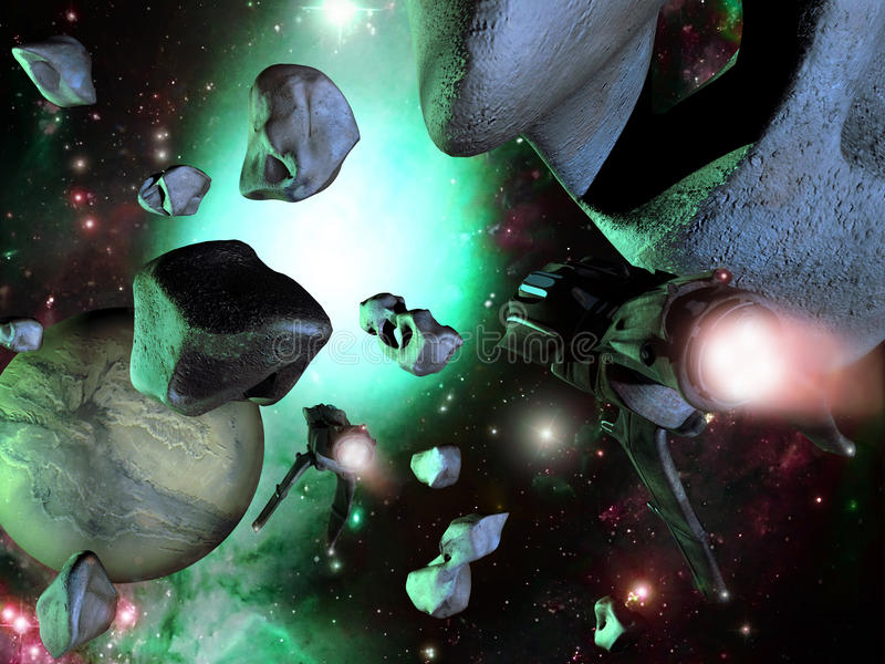 Spaceships and asteroids. Two spaceships flying between several asteroids as they approach a planet vector illustration