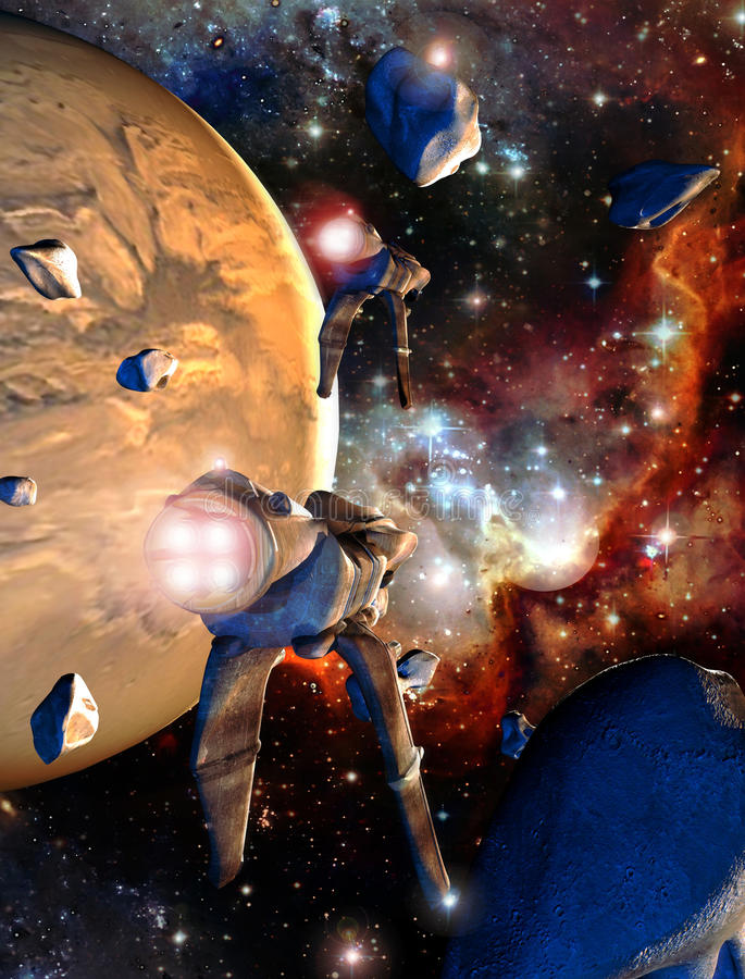 Spaceships and asteroids. Two spaceships flying between several asteroids as they approach a planet royalty free illustration
