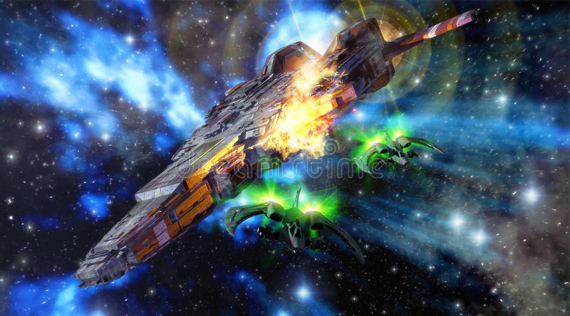 spaceships battle stock image