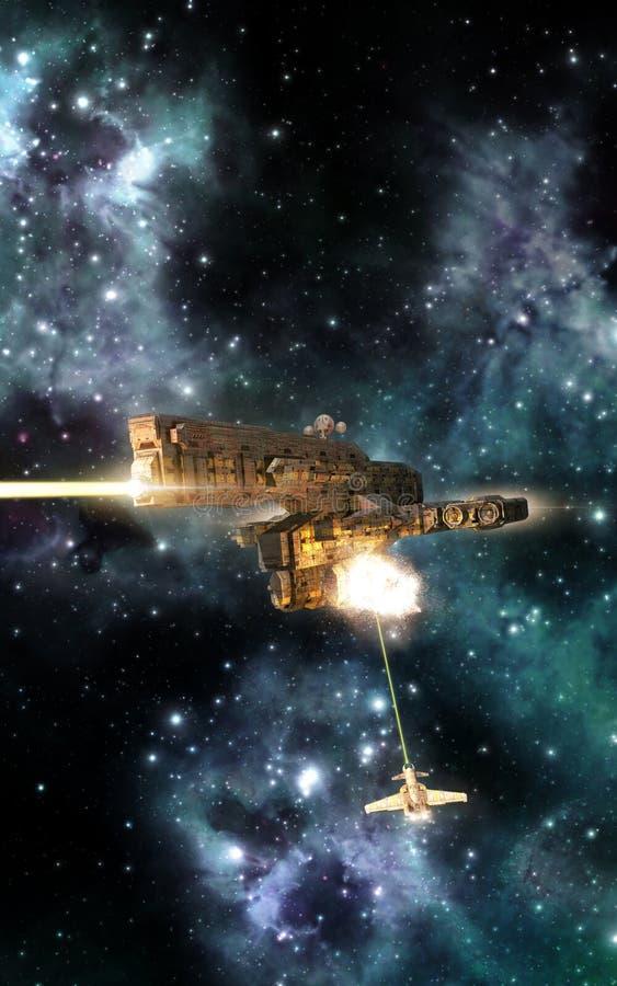 Spaceships battle gunship. 3D render science fiction illustration stock illustration