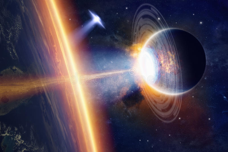 Spaceships bombardeert de stad stock afbeeldingen