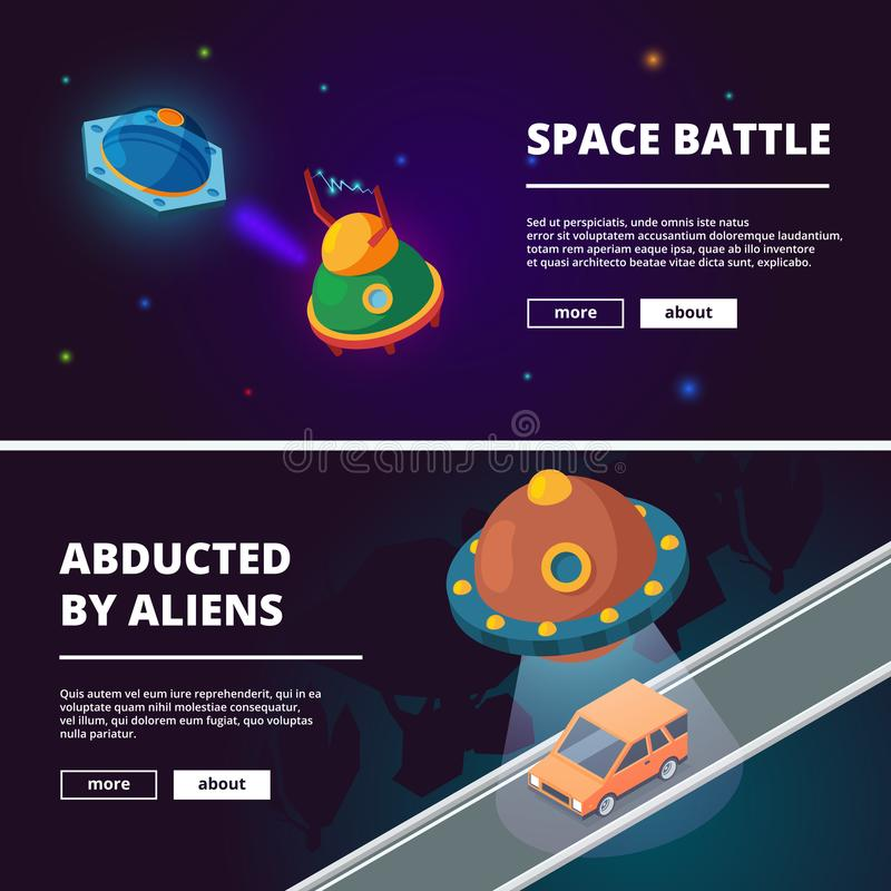 Spaceships cartoon. Vector isometric pictures isolate stock illustration