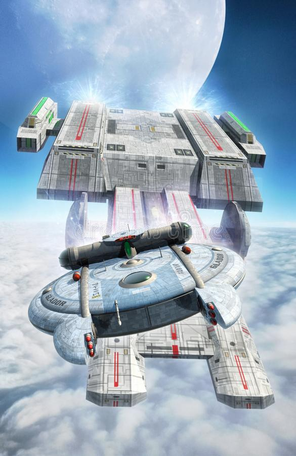 Spaceships chase in cloudy sky. 3D render science fiction illustration stock illustration
