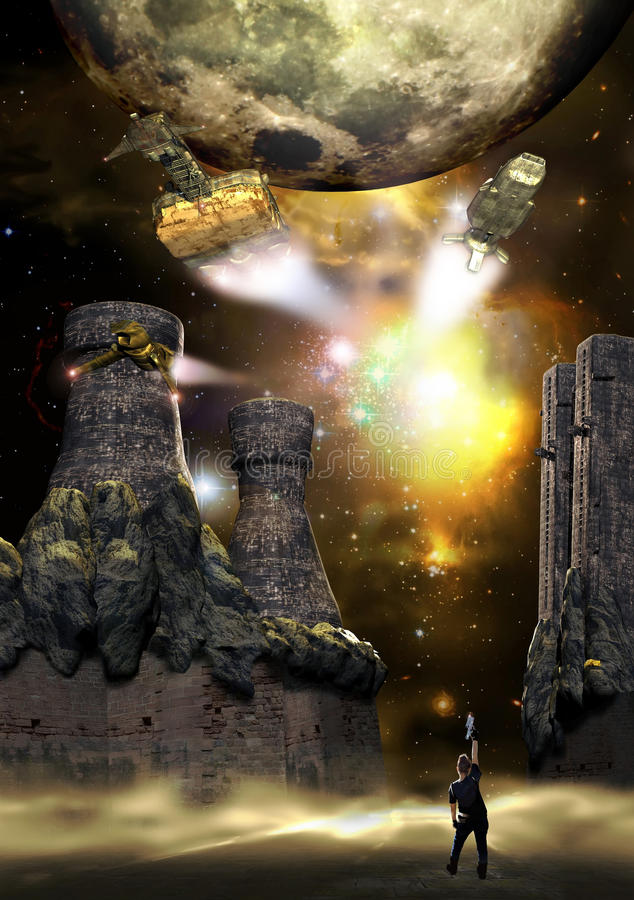 Spaceships coming back. A space fortress on an alien planet. On the misty ground, a woman raises her hand with a gun, saluting several spaceships coming back stock illustration