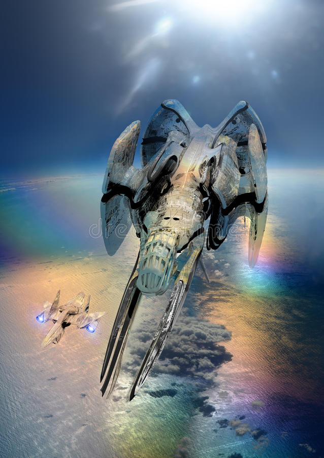 Spaceships and Earth. Futuristic spaceships navigating above Earth stock illustration