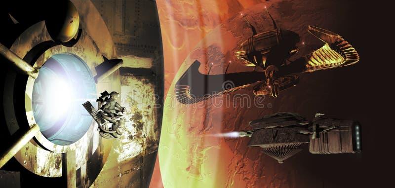 Spaceships en planeten royalty-vrije illustratie