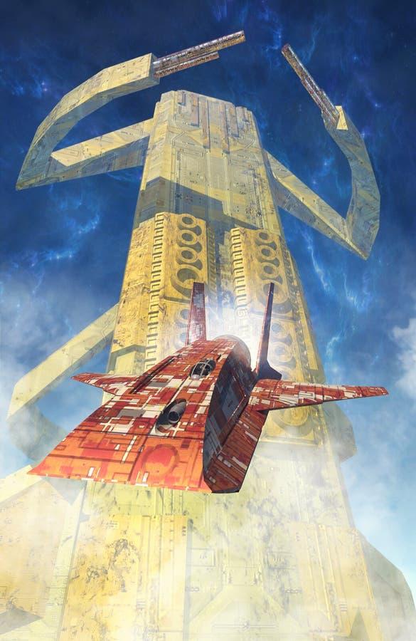 Spaceships en torenstad vector illustratie