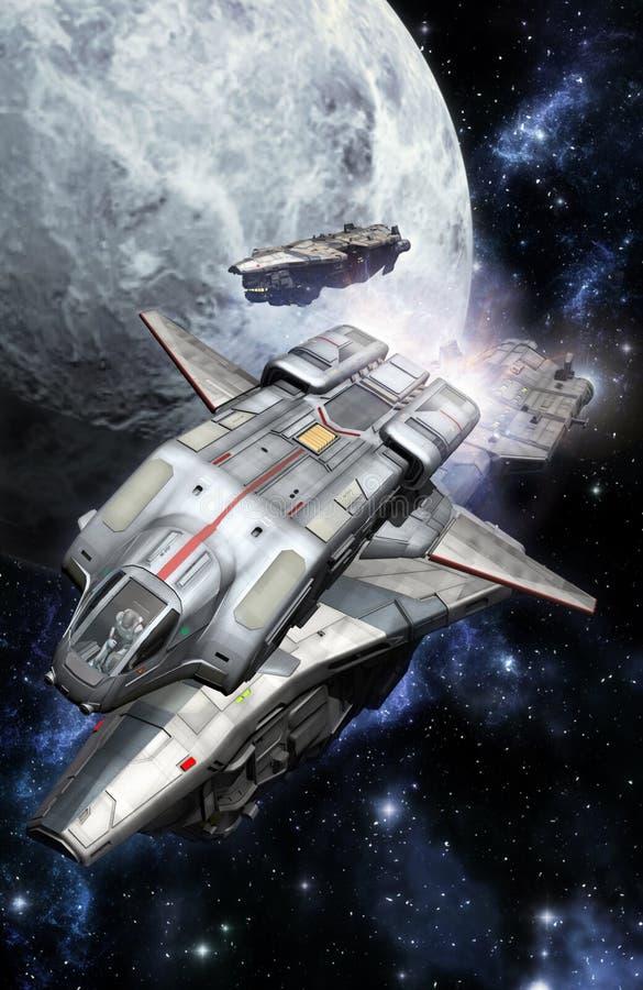 Spaceships fleet. 3D render science fiction illustration stock illustration