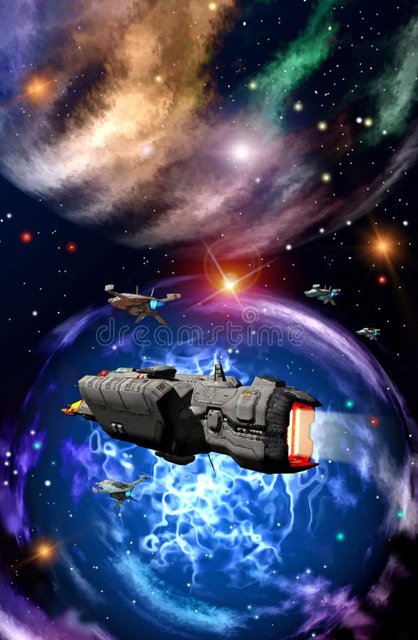 Spaceships fleet near a big nebula, 3d illustration. Spaceships fleet flying near big nebula illustration graphic design science fiction scifi fantasy cover book royalty free illustration