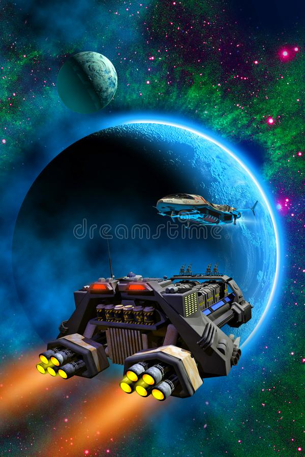Spaceships flying around an alien planet with a moon, in the background stars and nebula, 3d illustration. Spaceships flying around an alien planet with a moon royalty free illustration