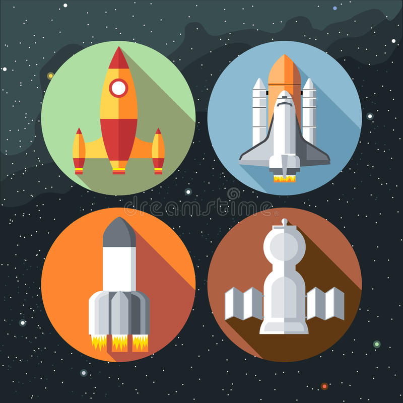 Spaceships icons collection with shuttles and rockets. Digital vector image stock illustration