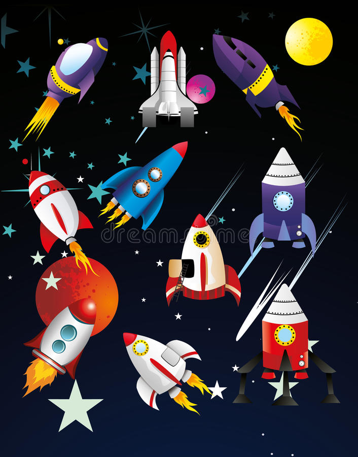 Spaceships illustration. Over the space background vector illustration