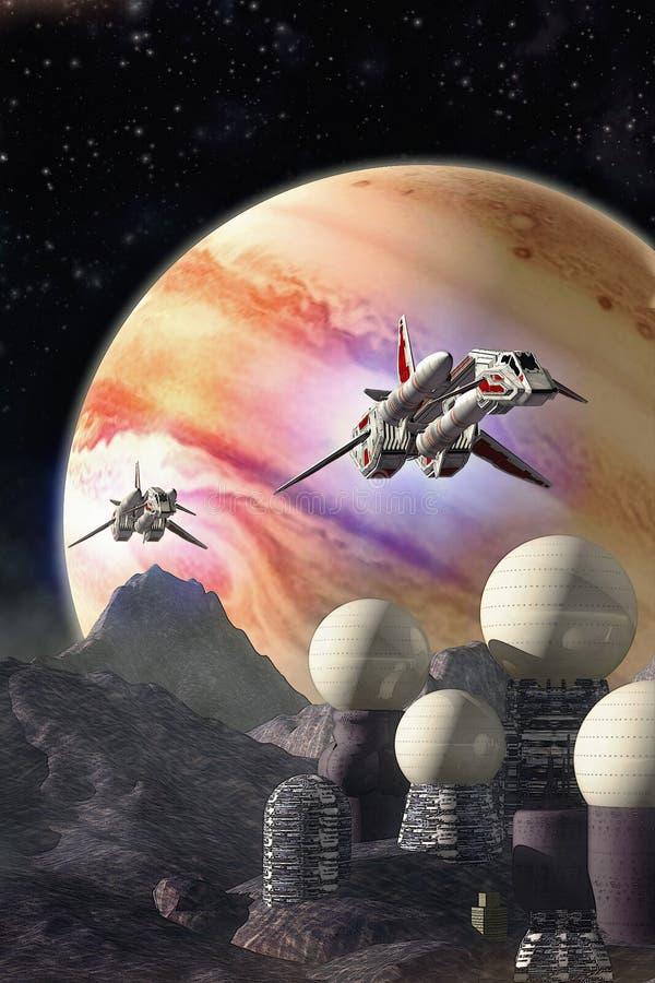 Spaceships and Jupiter Moon colony. 3D render illustration royalty free illustration