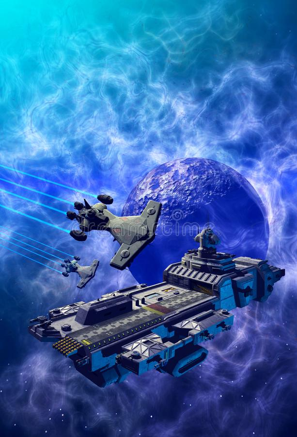 Spaceships nära en blå planet, inuti en nebula, 3d-bild vektor illustrationer
