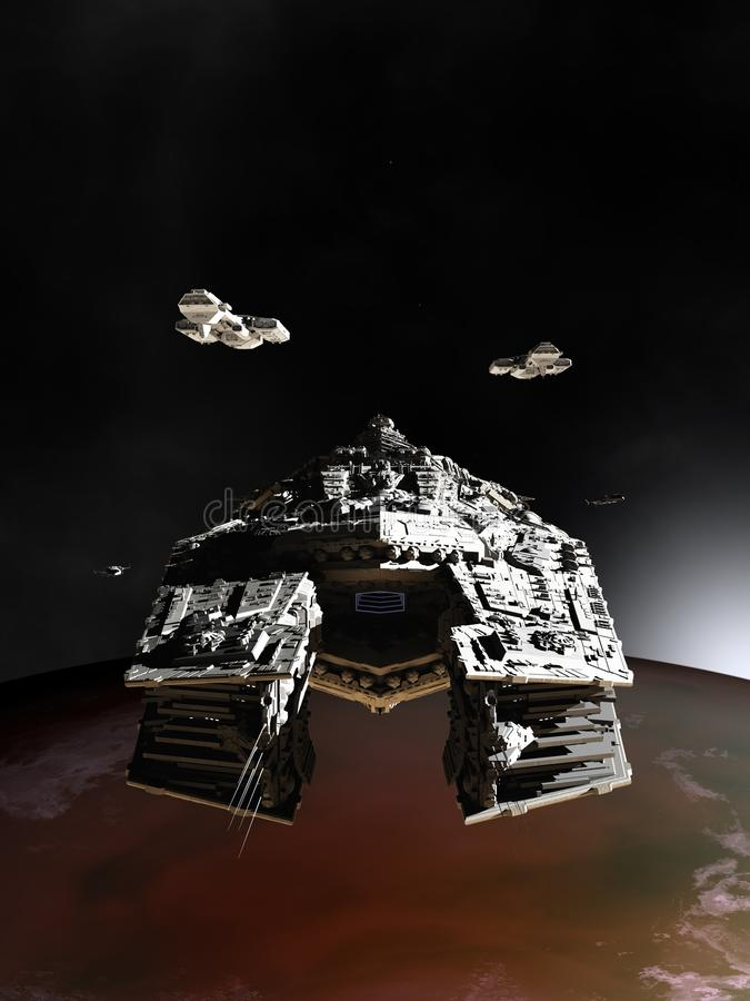 Spaceships in Orbit stock illustration