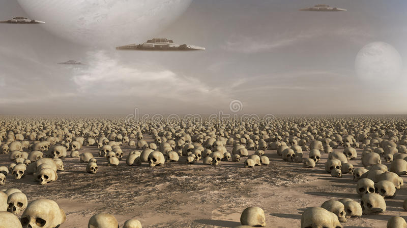 Spaceships over a field of skulls. Apocalyptic scenery with spaceships, desert, skulls and planets stock illustration