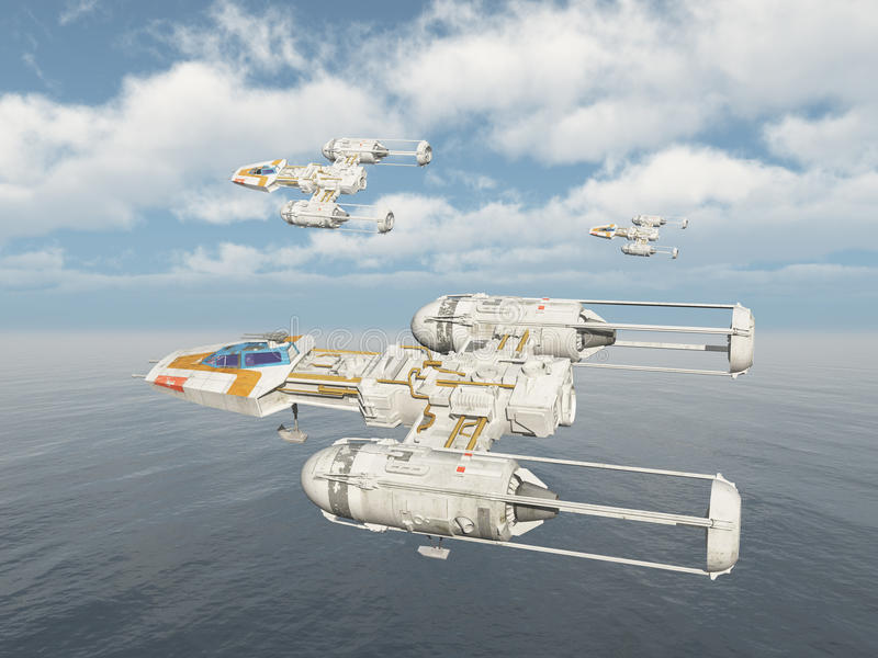 Spaceships over the ocean. Computer generated 3D illustration with three spaceships over the ocean royalty free illustration