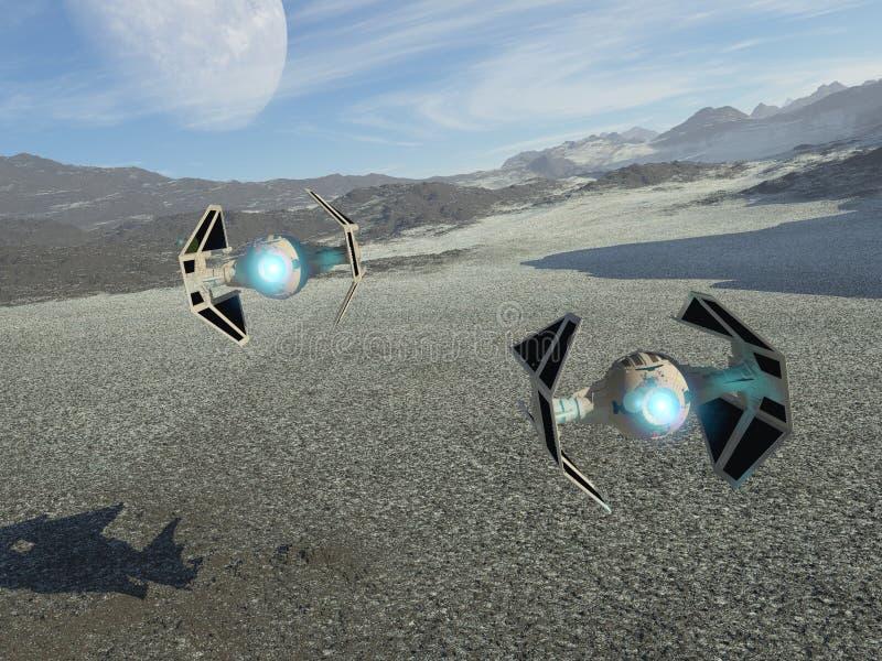 Spaceships on patrol vector illustration