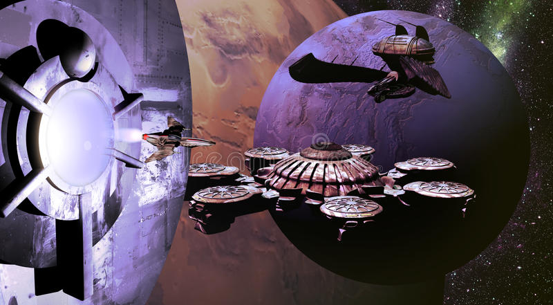 Spaceships and planets. Fighter spaceship coming out from a spatial station, with several spaceships at the foreground of alien planets vector illustration