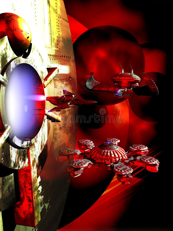 Spaceships and planets. Mixed images of fighter spaceship coming out from a spatial station and several spaceships at the foreground of alien planets stock illustration