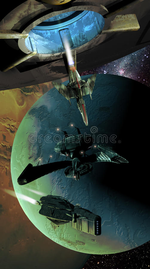 Spaceships and planets. Sace fighter coming out from a spatial station, with several spaceships at the foreground of alien planets vector illustration