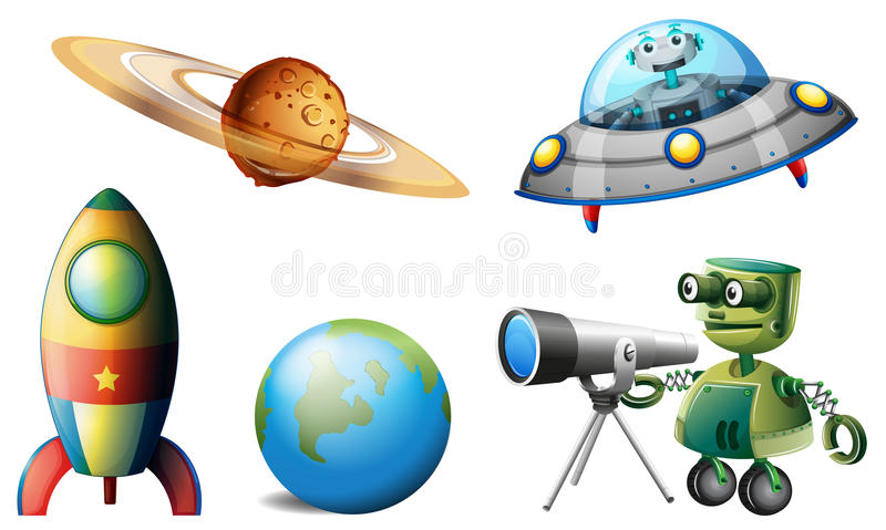 Spaceships and robots. Illustration of the spaceships and robots on a white background stock illustration