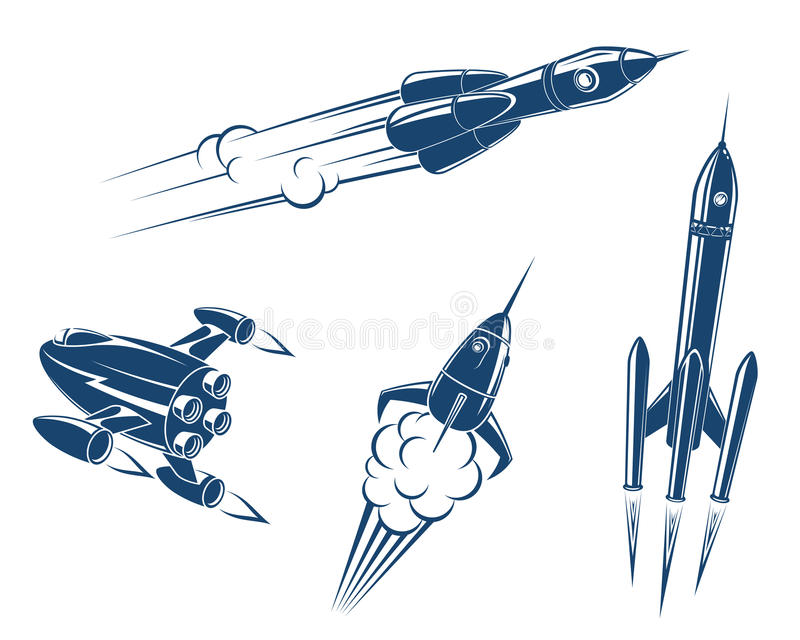 Spaceships and rockets royalty free illustration