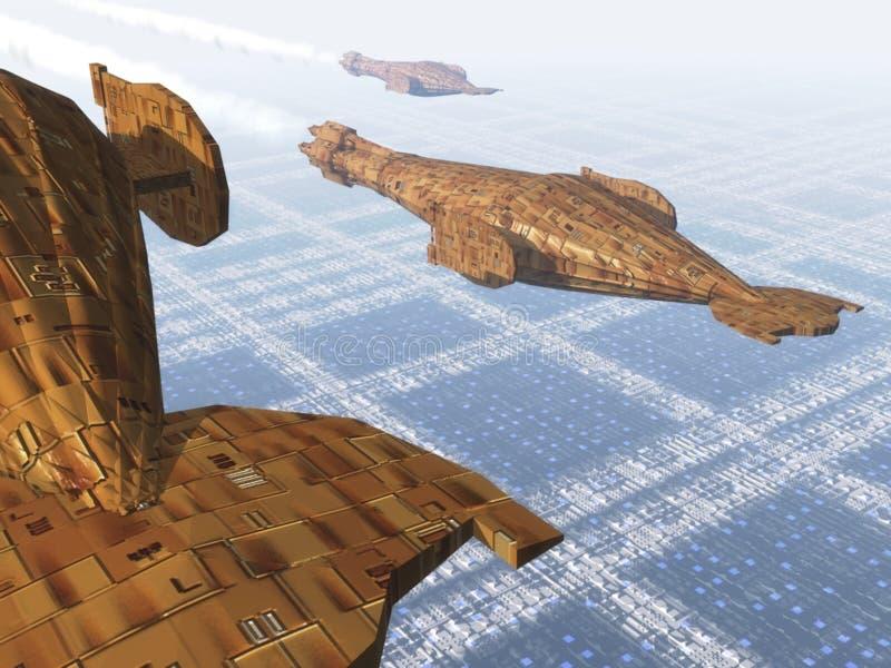 Spaceships van het vervoer vector illustratie