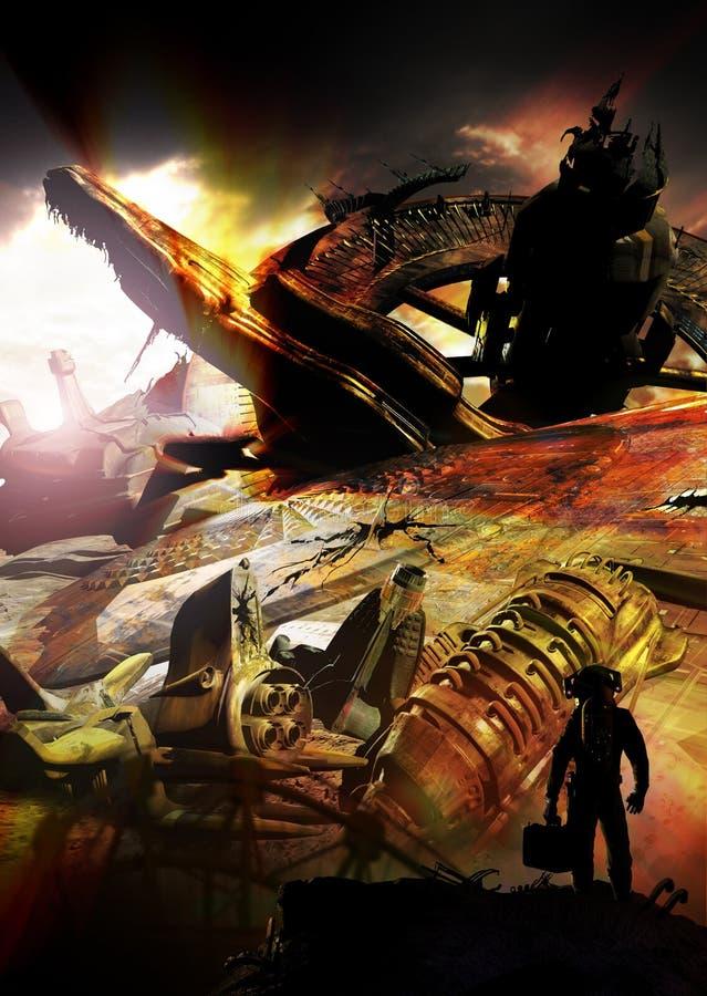 Spaceshipskerkhof vector illustratie