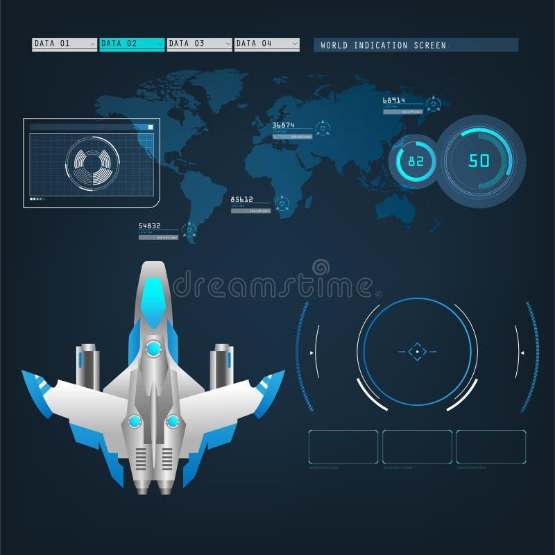 Spaceshipsvliegtuigen met toekomstige de wijzeinterface van de gezichtsactie vector illustratie