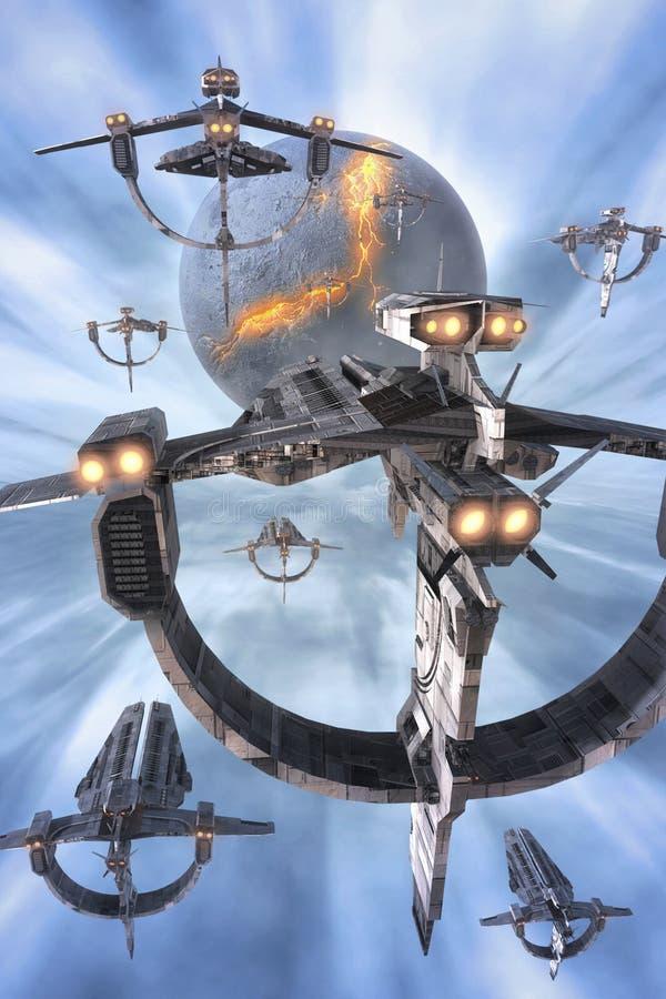 Spaceshipsvloot en planeet stock illustratie