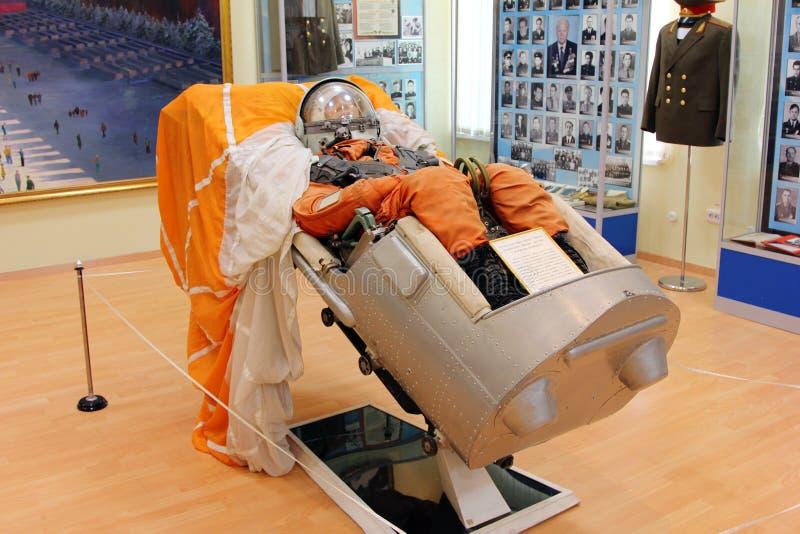 spacesuit astronauten` s kostuum in een museum Baikonur Cosmodrome Ka royalty-vrije stock foto's