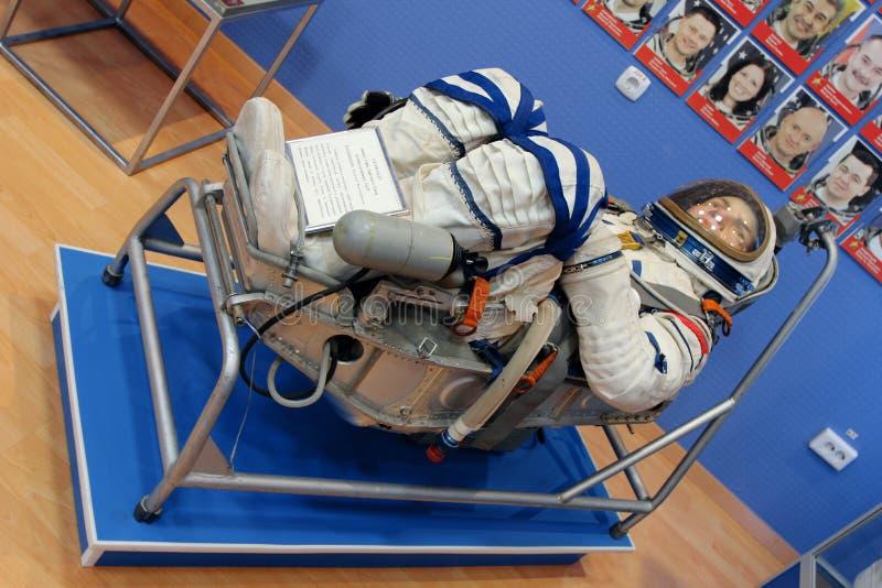 spacesuit astronauten` s kostuum in een museum Baikonur Cosmodrome kazachstan stock afbeelding