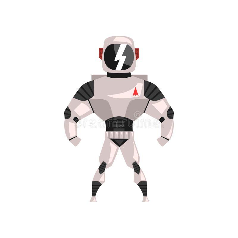 Spacesuit del robot, super héroe, ejemplo del vector del traje del cyborg en un fondo blanco ilustración del vector